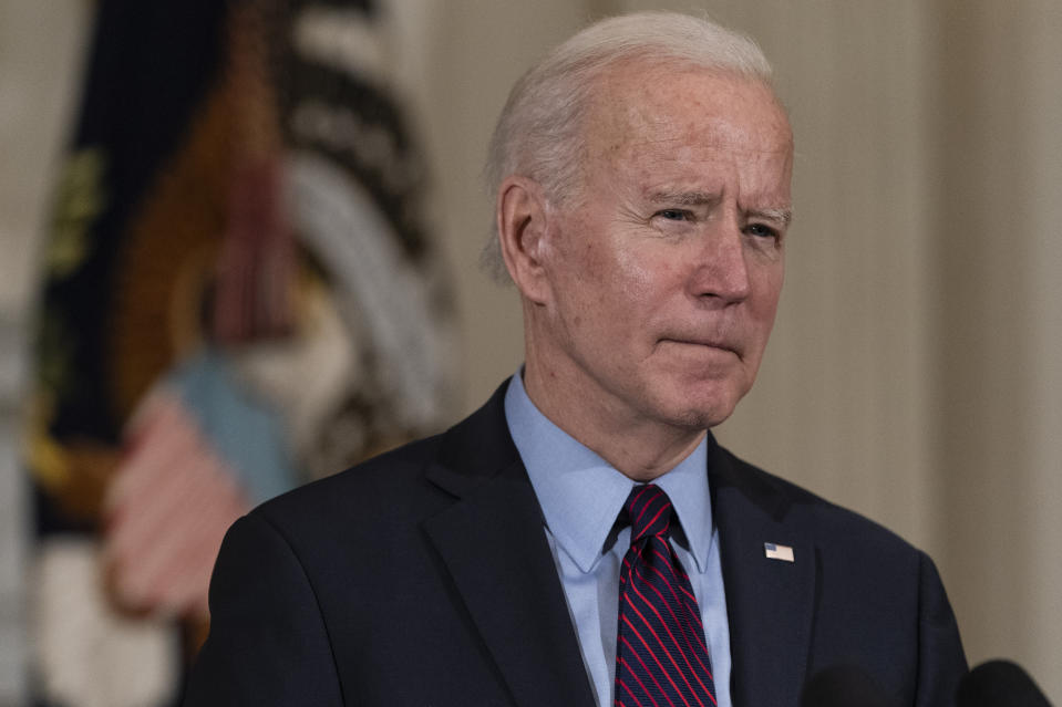 President Joe Biden speaks about the economy in the State Dinning Room of the White House, Friday, Feb. 5, 2021, in Washington. (AP Photo/Alex Brandon)