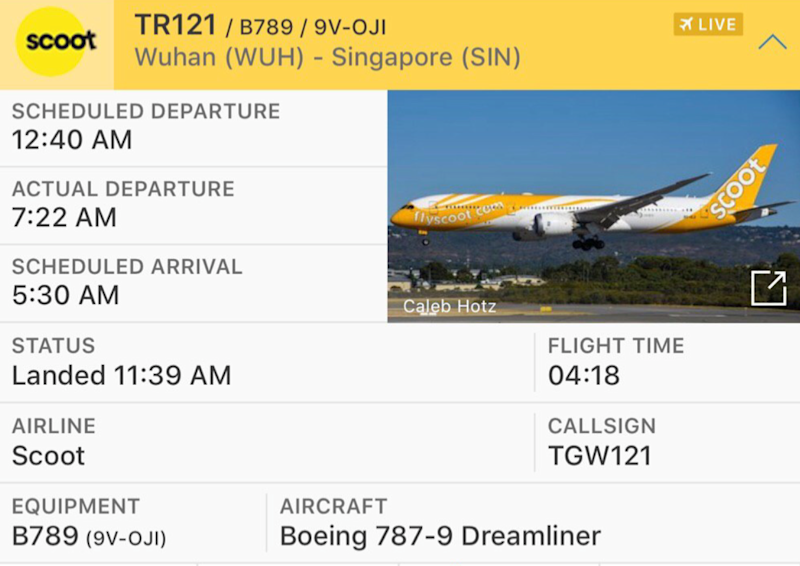 (SCREENSHOT: Scoot flight TR121 returning from Wuhan to Singapore on 30 January 2020 at 11.39am/Flight Radar)