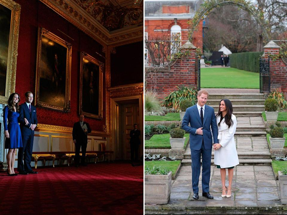<p>While Kate and William chose to hold their photocall inside a grand room of St James' Palace, Harry and Meghan opted for something a little more low key – in the gardens of Kensington Palace, the place all four royals now call home. </p><p>Despite the bad weather, the couple decided to hold the photoshoot outside, which – whether intentional or not – gave it all a much more informal feel than the rather majestic hall that William and Kate stood in for their engagement.</p>