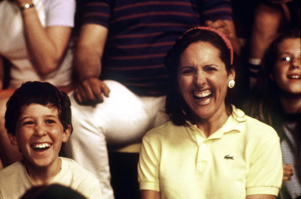 """Oddly perceptive camper Aaron (Gideon Jacobs, left) and recently divorced arts and crafts counselor Gail (Molly Shannon) in a scene from 2001's """"Wet Hot American Summer."""""""