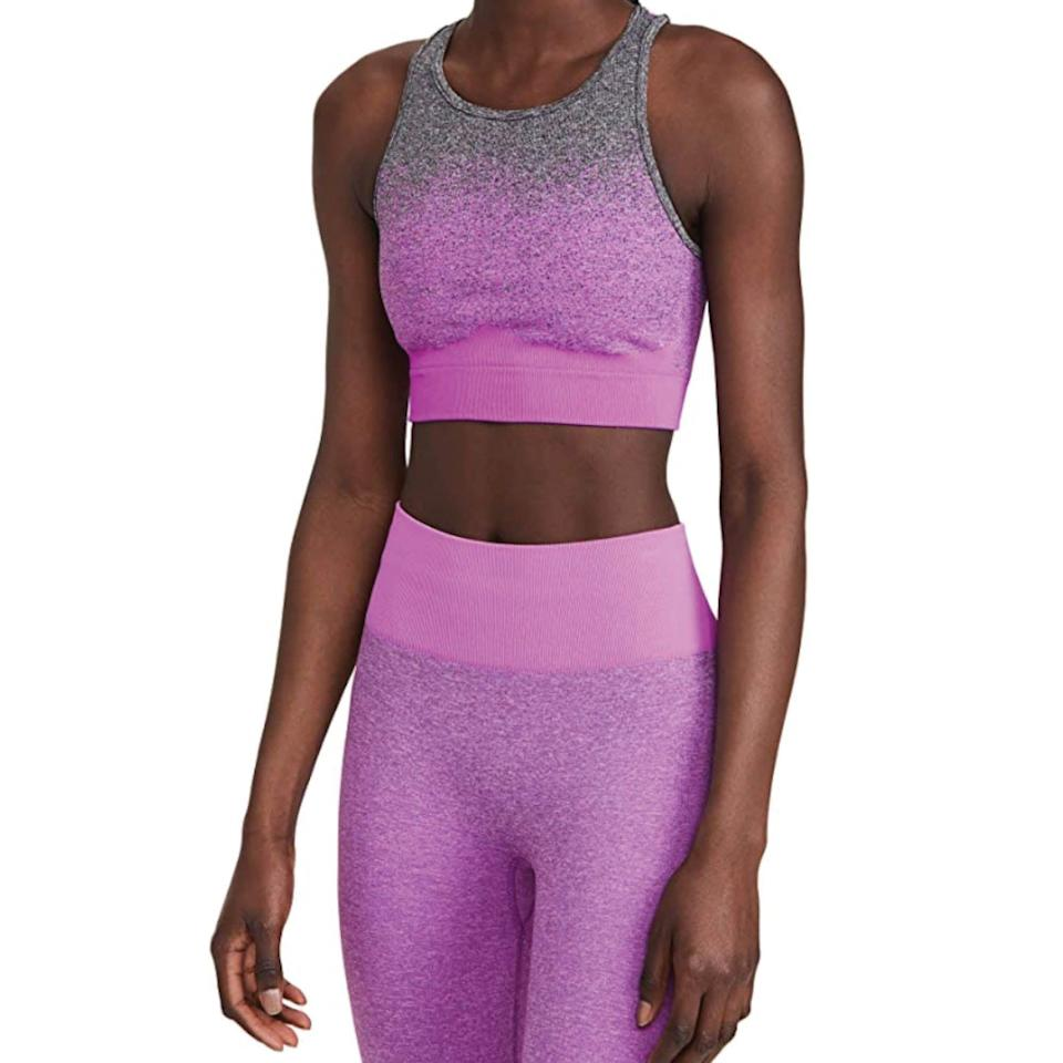 """<p><strong>Koral Activewear</strong></p><p>amazon.com</p><p><strong>$95.00</strong></p><p><a href=""""https://www.amazon.com/dp/B093B1WYDQ?tag=syn-yahoo-20&ascsubtag=%5Bartid%7C2142.g.36448024%5Bsrc%7Cyahoo-us"""" rel=""""nofollow noopener"""" target=""""_blank"""" data-ylk=""""slk:Shop Now"""" class=""""link rapid-noclick-resp"""">Shop Now</a></p><p>Ditch your usual monochromatic workout top for this ombré dyed seamless racerback sports bra. Made from a strong compression jersey, this design is ideal for rigorous days at the gym. </p>"""