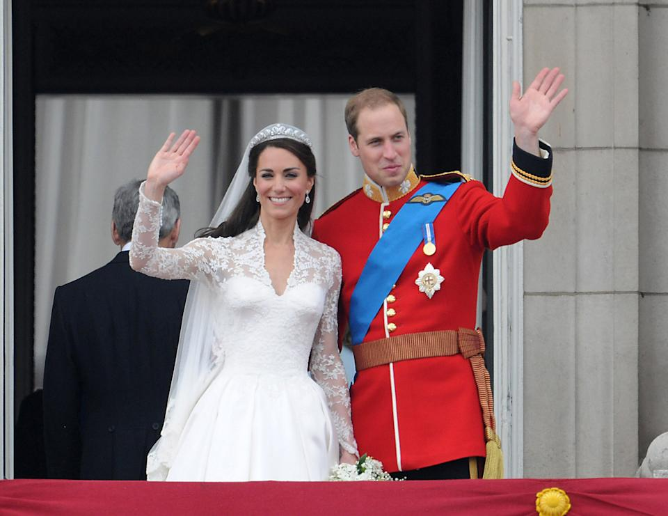 Catherine, Duchess of Cambridge and Prince William, Duke of Cambridge greet well-wishers from the balcony at Buckingham Palace on April 29, 2011 in London, England. (Photo by George Pimentel/WireImage)