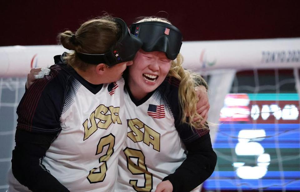Lisa Czechowski and Marybai Huking celebrate their victory over Not Russia.