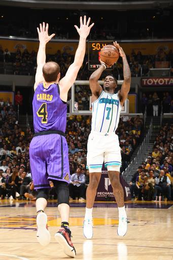 LOS ANGELES, CA - MARCH 29: Dwayne Bacon #7 of the Charlotte Hornets shoots the ball during the game against Alex Caruso #4 of the Los Angeles Lakers on March 29, 2019 at STAPLES Center in Los Angeles, California. (Photo by Andrew D. Bernstein/NBAE via Getty Images)