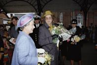 """<p>The Queen has her lady-in-waiting with her at all times during public engagements, so <a href=""""https://www.youtube.com/watch?v=bflRorTUxjI&feature=youtu.be"""" rel=""""nofollow noopener"""" target=""""_blank"""" data-ylk=""""slk:she's likely hovering"""" class=""""link rapid-noclick-resp"""">she's likely hovering</a> around celebrities when they're in conversation with Her Majesty. </p>"""