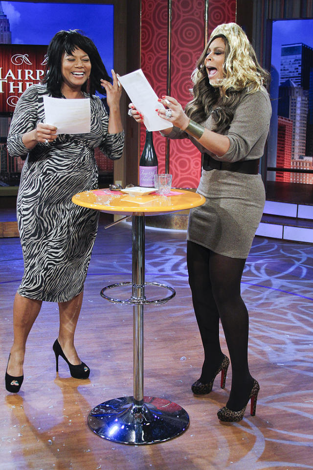 "Queen Latifah and Wendy Williams got silly on Wendy's talk show Wednesday when the ladies donned wigs and performed scenes from ""The Real Housewives of Atlanta"" as part of the host's signature ""Hairpiece Theater."" (01/18/2012)."