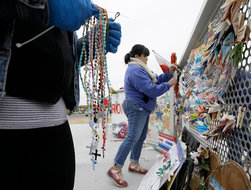Items have been removed from the Walmart memorial in El Paso, Texas, and replaced at a permanent location at Ponder Park.