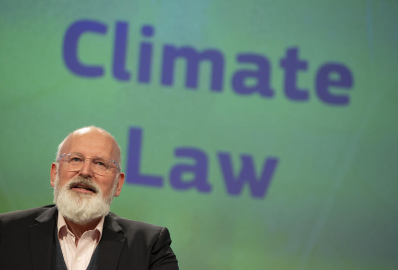 European Commissioner for European Green Deal Frans Timmermans speaks during a media conference after the weekly College of Commissioners meeting at EU headquarters in Brussels, Wednesday, March 4, 2020. European Commission President Ursula von der Leyen, who has put climate change at the top of her priorities and pledged to make Europe the first climate neutral continent by 2050, presented her plans on Wednesday. (AP Photo/Virginia Mayo)