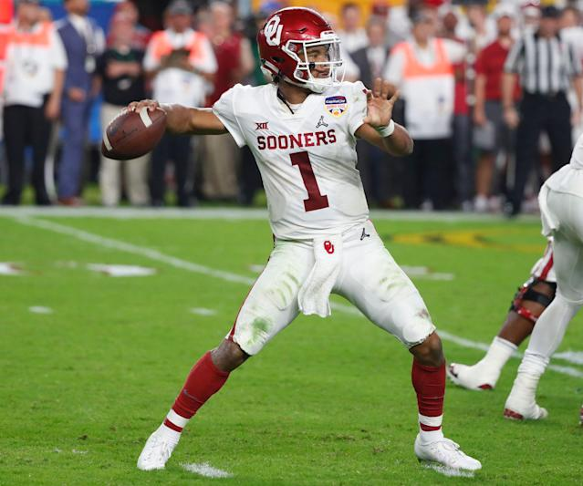 Oklahoma quarterback Kyler Murray (1) in the Orange Bowl NCAA college football game against Alabama. (AP Photo)