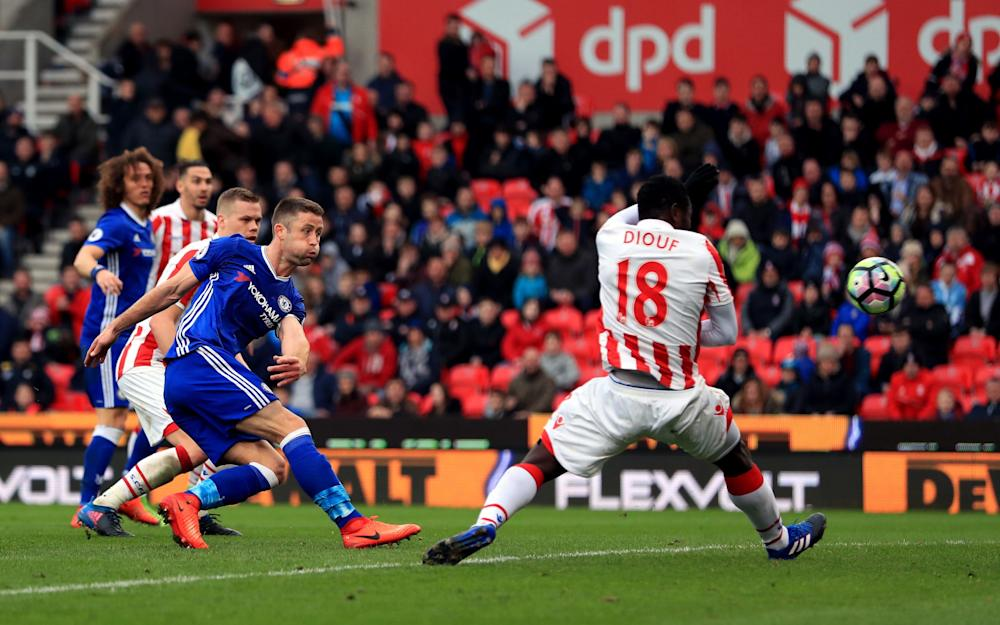 Cahill -Stoke City 1 Chelsea 2: Gary Cahill's late winner sends resilient Blues 13 points clear of chasing pack - Credit: PA