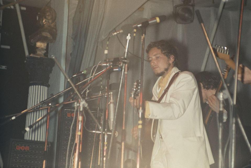 <p>Bob Dylan performs at the Isle of Wight Festival, UK, 1969.</p>
