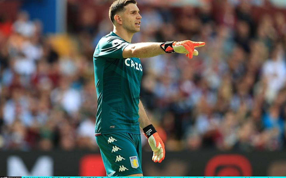 Emiliano Martinez of Aston Villa looks on during the Premier League match between Aston Villa and Brentford in August. - David Rogers/Getty Images