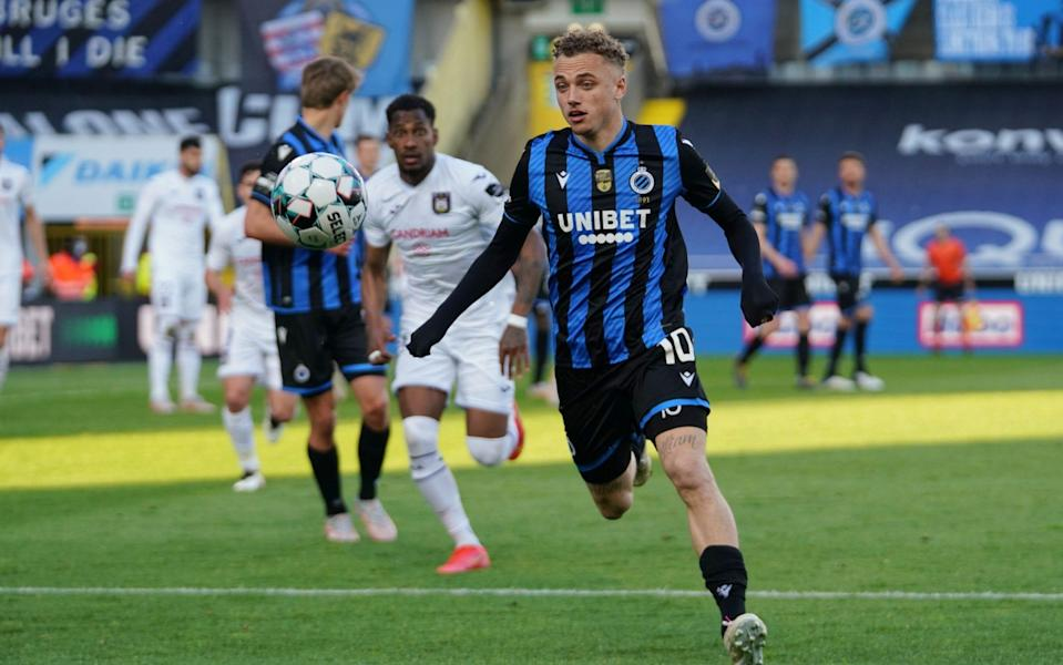 Noa Lang of Club Brugge KV in action during Jupiler Pro League championship play-offs between Club Bruges KV and Royal Sporting Club Anderlecht (RSCA) on May 2, 2021 in Bruges, Belgium. - GETTY IMAGES