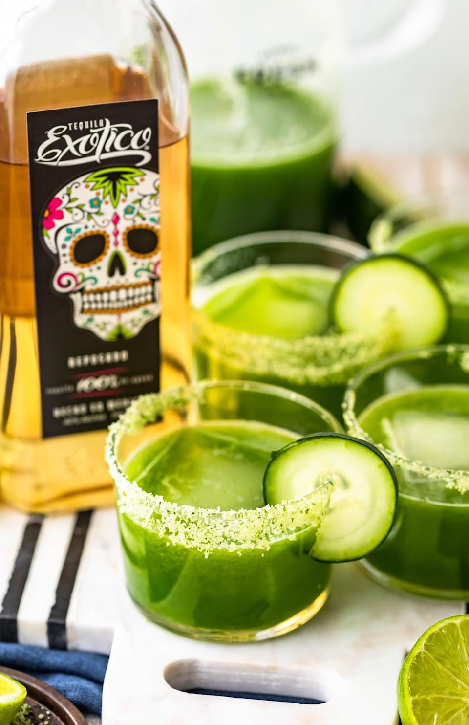 """<p>If spicy drinks are your thing, we promise you'll fall in love with this tangy cocktail. It packs a big punch, so feel free to add as much (or as little) spice as you want.</p> <p><strong>Get the recipe</strong>: <a href=""""https://www.thecookierookie.com/spicy-cucumber-jalapeno-margarita-recipe/"""" class=""""link rapid-noclick-resp"""" rel=""""nofollow noopener"""" target=""""_blank"""" data-ylk=""""slk:spicy cucumber jalapeño margarita"""">spicy cucumber jalapeño margarita</a></p>"""