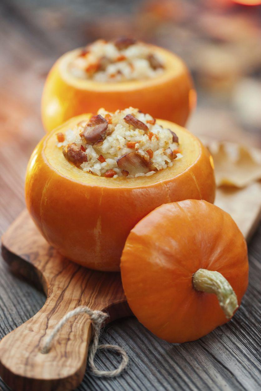 "<p>Make a festival fall meal (and save yourself some cleanup!) by serving up dinner party foods in a mini pumpkin. </p><p><strong><a href=""https://www.countryliving.com/food-drinks/recipes/a987/baked-stuffed-pumpkin-3090/"" rel=""nofollow noopener"" target=""_blank"" data-ylk=""slk:Get the recipe"" class=""link rapid-noclick-resp"">Get the recipe</a>.</strong><br></p>"