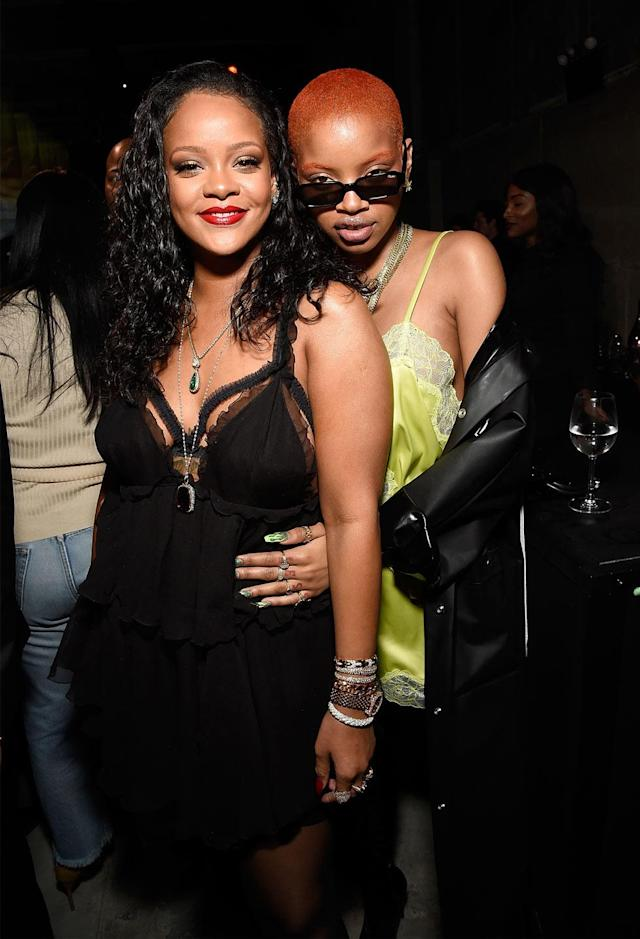 Rihanna and Slick Woods at the Savage x Fenty launch in Brooklyn, NY. (Photo: Getty)