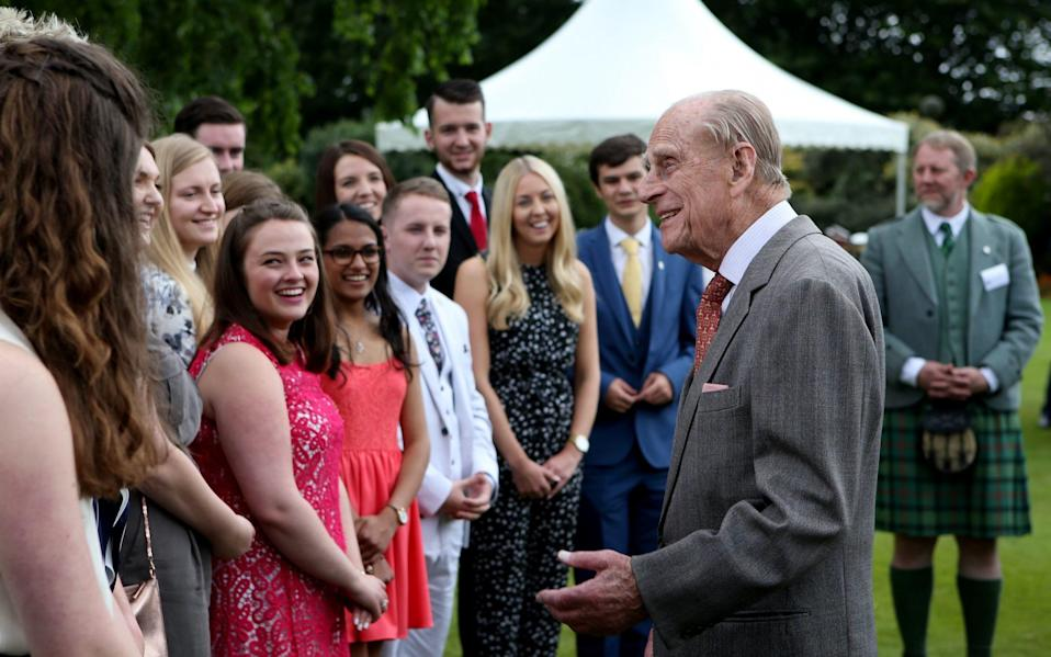 The Duke of Edinburgh attends the Presentation Reception for The Duke of Edinburgh Gold Award holders in the gardens at the Palace of Holyrood house in Edinburgh in 2017 - Jane Barlow/PA /Jane Barlow/PA