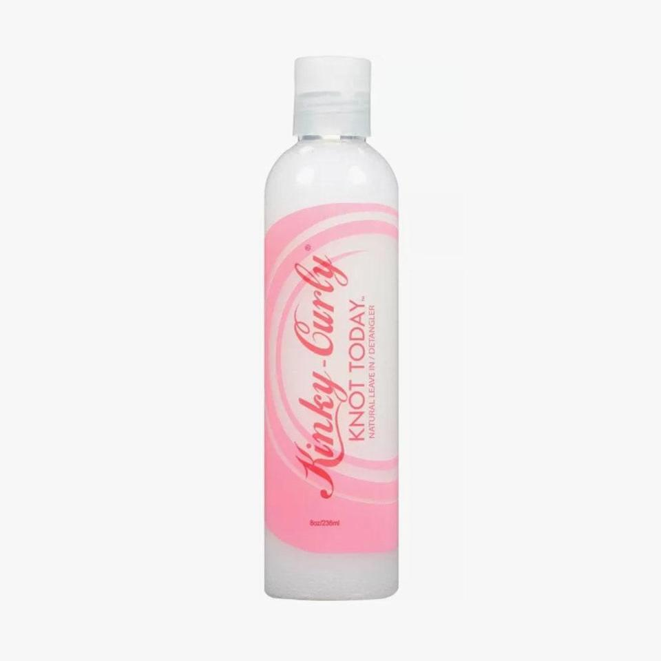 """$13, KINKY-CURLY. <a href=""""https://www.target.com/p/kinky-curly-knot-today-leave-in-detangler-8oz/-/A-13044269?ref=tgt_adv_XS000000&AFID=google_pla_df&fndsrc=tgtao&DFA=71700000012510706&CPNG=PLA_Beauty%2BPersonal+Care%2BShopping&adgroup=SC_Health%2BBeauty&LID=700000001170770pgs&LNM=PRODUCT_GROUP&network=g&device=c&location=9004342&targetid=pla-901115587671&ds_rl=1246978&ds_rl=1248099&gclid=Cj0KCQjw28T8BRDbARIsAEOMBcwCXFhOz2JYEQZZhc8eyq8iT21VJH_BnAivHwioSmpWCT1JXDofDZsaAoUyEALw_wcB&gclsrc=aw.ds"""" rel=""""nofollow noopener"""" target=""""_blank"""" data-ylk=""""slk:Get it now!"""" class=""""link rapid-noclick-resp"""">Get it now!</a>"""