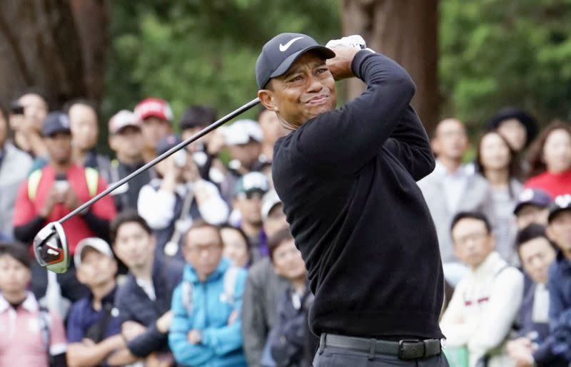 Tiger Woods tees off on the 11th hole during the first round of the Zozo Championship in Inzai, Japan