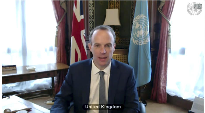 In this image made from UNTV video, Britain's Foreign Minister Dominic Raab, speaks during a U.N. Security Council high-level meeting on COVID-19 recovery focusing on vaccinations, Wednesday, Feb. 17, 2021, at UN headquarters, in New York. (UNTV via AP)
