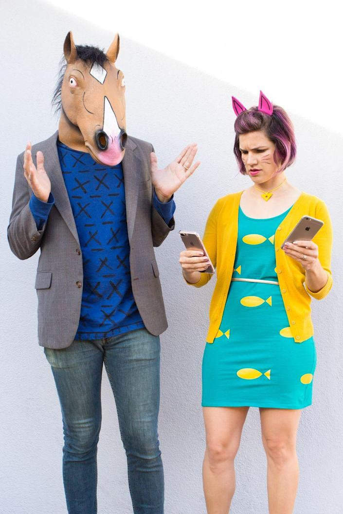 """<p>The Emmy-nominated animated Netflix series """"BoJack Horseman"""" may have wrapped up this year, but that just makes it the perfect time to honor the show with this couple's costume just as quirky and cool as it was.</p><p><strong>Get the tutorial at <a href=""""https://sarahhearts.com/bojack-horseman-princess-carolyn-halloween-costumes/"""" rel=""""nofollow noopener"""" target=""""_blank"""" data-ylk=""""slk:Sarah Hearts"""" class=""""link rapid-noclick-resp"""">Sarah Hearts</a>.</strong></p><p><a class=""""link rapid-noclick-resp"""" href=""""https://www.amazon.com/Sculpey-III-Polymer-Clay-Ounces-Yellow/dp/B0027A3B84/ref=sr_1_1?tag=syn-yahoo-20&ascsubtag=%5Bartid%7C10050.g.4616%5Bsrc%7Cyahoo-us"""" rel=""""nofollow noopener"""" target=""""_blank"""" data-ylk=""""slk:SHOP OVEN-BAKE CLAY"""">SHOP OVEN-BAKE CLAY</a><br></p>"""