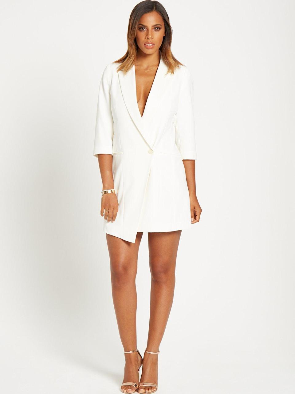 <p>This suit dress puts an unconventional spin on the white trouser suit. Suit dress, £80. </p>