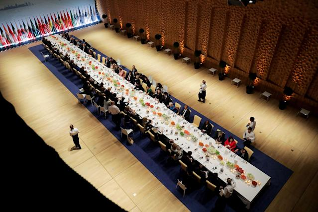 <p>Delegates attend the official dinner at the Elbphilharmonie Concert Hall during the G20 summit in Hamburg, Germany July 7, 2017. (Photo: Kay Nietfeld,Pool/Reuters) </p>