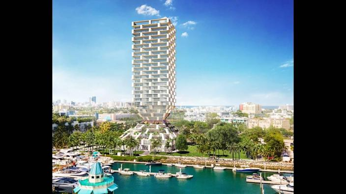 Architectural rendering by Bjarke Ingels Group on Terra's proposed redevelopment of the Miami Beach Marina. The project will be voted on during November's election.