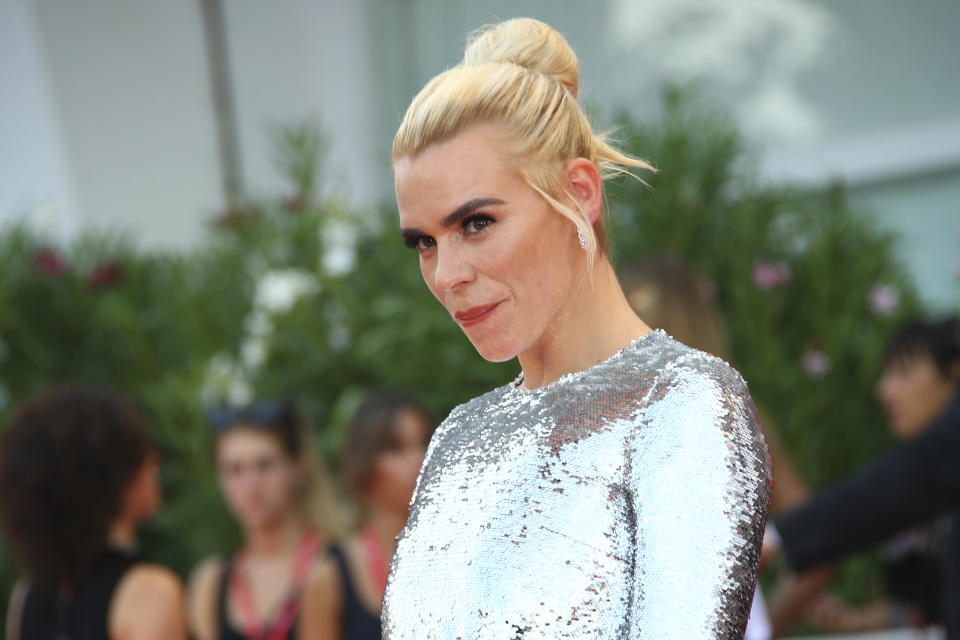 Actress Billie Piper poses for photographers upon arrival at the premiere of the film 'Marriage Story' at the 76th edition of the Venice Film Festival, Venice, Italy, Thursday, Aug. 29, 2019. (Photo by Joel C Ryan/Invision/AP)