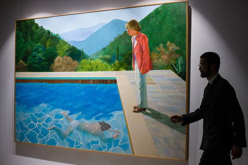 English artist David Hockney's 'Portrait of an Artist (Pool with Two Figures)'. Source: Getty