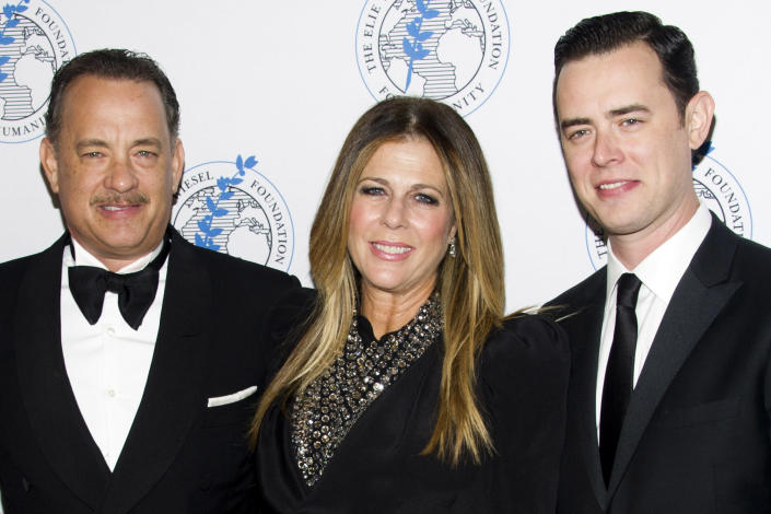 Honoree Tom Hanks, left, Rita Wilson and Colin Hanks attend The Elie Wiesel Foundation For Humanity's Arts for Humanity Gala on Wednesday, Oct. 17, 2012 in New York. (Photo by Charles Sykes/Invision/AP)