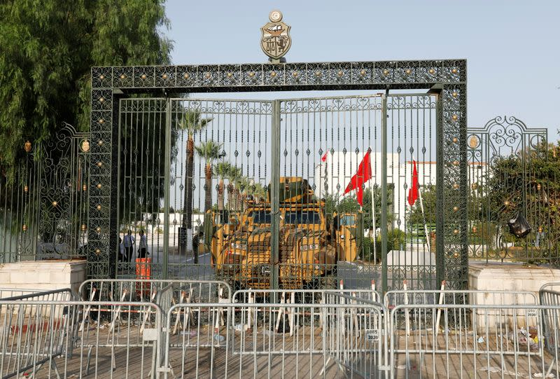 A military vehicle is pictured in front of the parliament building in Tunis