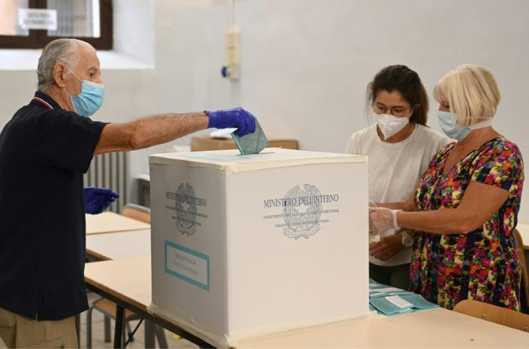 A man casts his vote in Rome