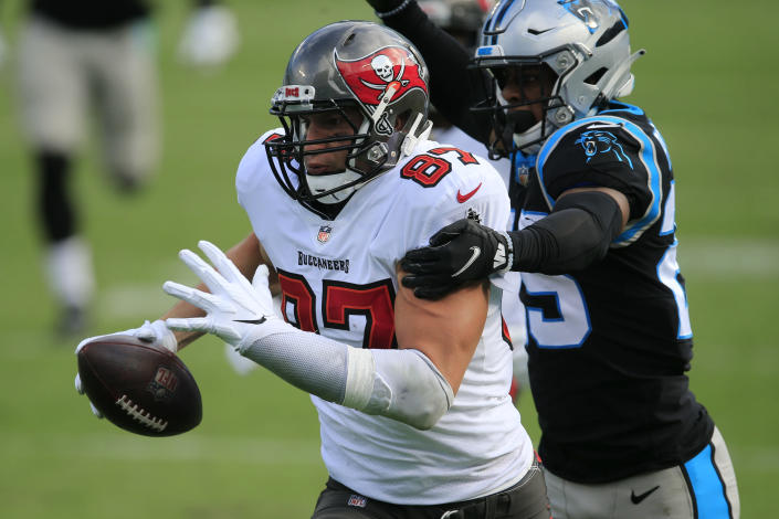 Tampa Bay Buccaneers tight end Rob Gronkowski (87) runs against the Carolina Panthers during the first half of an NFL football game, Sunday, Nov. 15, 2020, in Charlotte , N.C. (AP Photo/Brian Blanco)