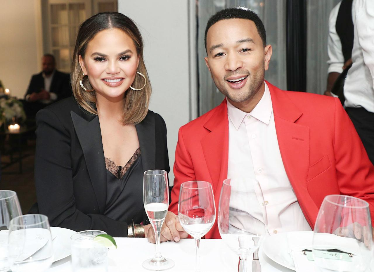 Chrissy Teigen joins husband John Legend, the night's honoree, at a Paul Smith dinner at Chateau Marmont in L.A. on Tuesday.