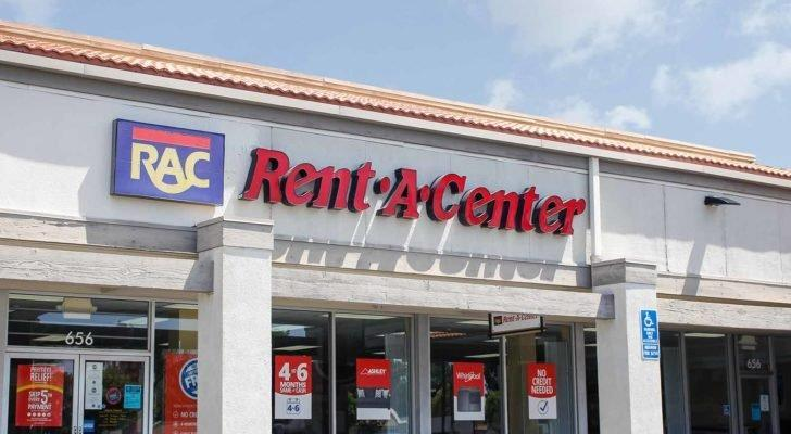 A photo of the Rent a Center (RCII) logo on storefront in Los Angeles, Cali.