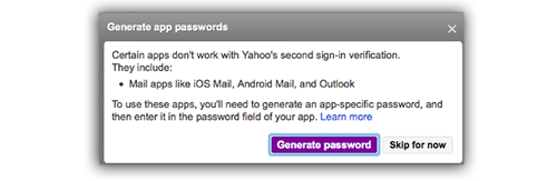 Yahoo Generage app passwords screen