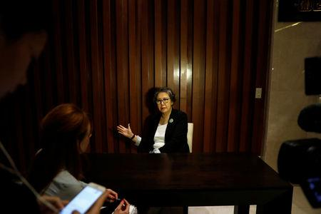 Yanghee Lee talk to reporters during Reuters interview in Bangkok, Thailand January 18, 2019. Picture taken January 18, 2019. REUTERS/Soe Zeya Tun