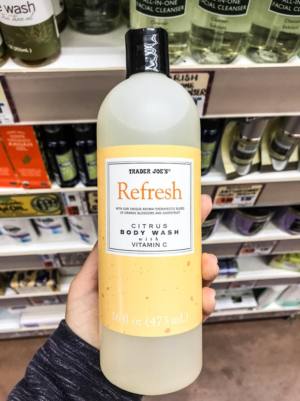 <p>Refresh is right. Trader Joe's citrus body wash hits all the Spring notes with a dash of Vitamin C. A fairly sizable bottle for only $3 will get you through the upcoming season. </p>