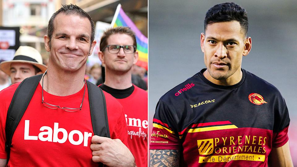 Gay rugby league icon Ian Roberts is pictured here alongside a photo of Israel Folau.