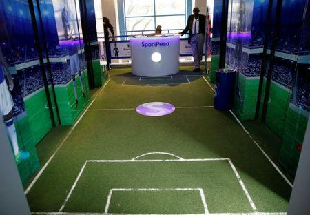 A view shows the replica of a soccer pitch at the Sportpesa, online sports betting firm, company headquarters in Nairobi, Kenya, January 3, 2018. REUTERS/Thomas Mukoya