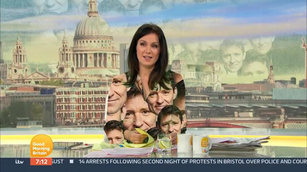 Susanna Reid's green dress had Ben Shephard's face projected onto it by the GMB team. (ITV)