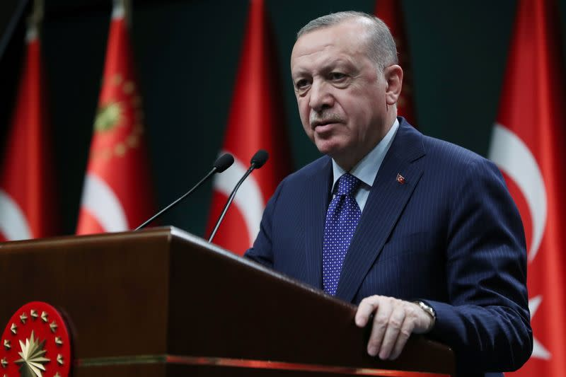 Turkish President Tayyip Erdogan gives a statement after a meeting in Ankara