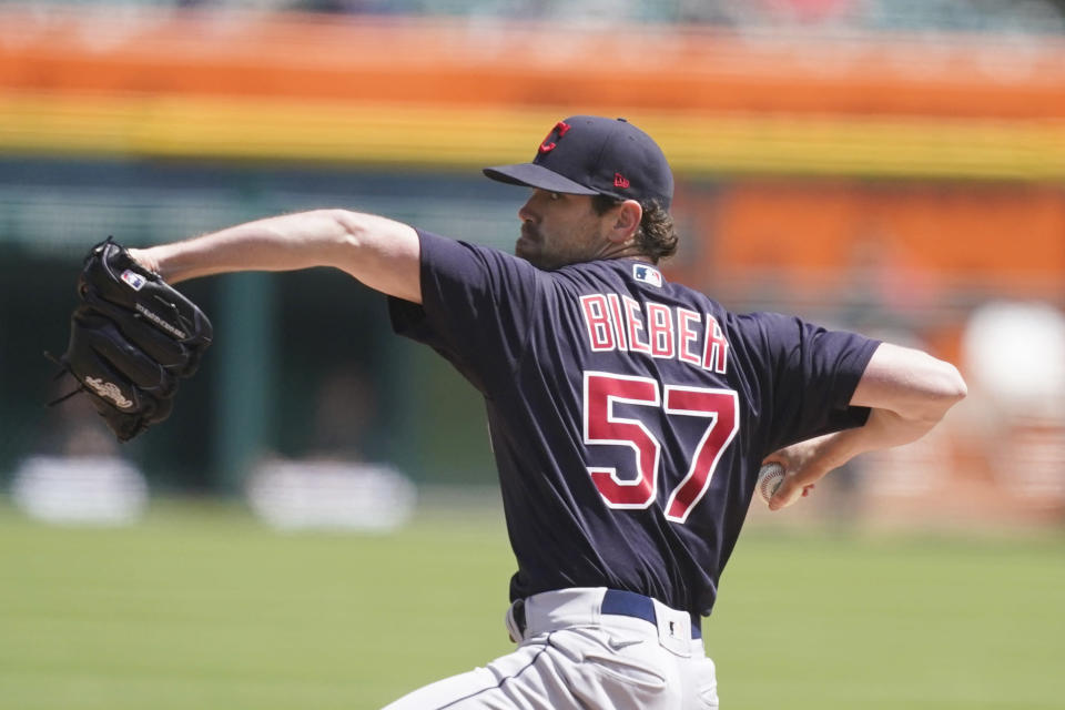 Cleveland Indians starting pitcher Shane Bieber throws during the fifth inning of a baseball game against the Detroit Tigers, Thursday, May 27, 2021, in Detroit. (AP Photo/Carlos Osorio)