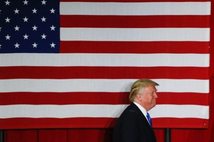 Republican presidential candidate Donald Trump walks to the stage at a fundraising event in Lawrenceville, N.J., on May 19, 2016. (Photo: Mike Segar/Reuters)