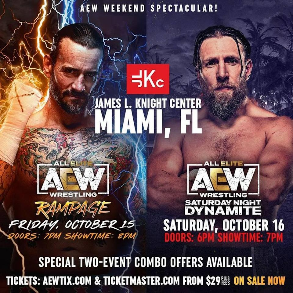 AEW Rampage on Friday, Oct. 15 and AEW Dynamite on Saturday, Oct. 16 will be at the James L. Knight Center in Miami. Both shows will be live on TNT.