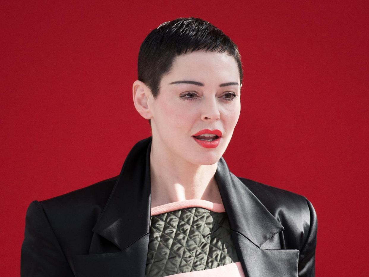 Rose McGowan attends the Vivienne Westwood show as part of the Paris Fashion Week Womenswear Fall/Winter 2018/2019 on March 3, 2018 in Paris, France: Getty Images