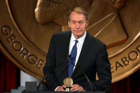"FILE PHOTO: Charlie Rose speaks after winning a Peabody Award for his work in ""One on One with Assad"" in New York"
