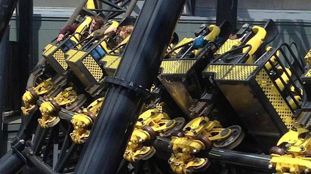 Photo taken with permission from the Twitter feed of @_ben_jamming of Alton Towers amusement park's Smiler rollercoaster after four people were seriously injured in a collision between two carriages
