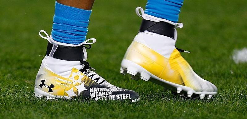 55fc2471b8db Cam Newton's cleats for the Carolina Panthers game against Pittsburgh  Steelers